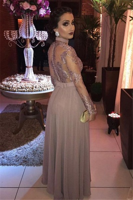 Gorgeous Appliques Sheer Tulle Long Sleeves A-Line Evening Dresses_2