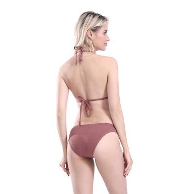Plain Triangle Pads Halter Two Piece Sexy Bikini Sets_8