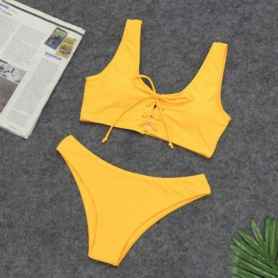 Ensembles de bikini taille haute à lacets en deux parties à lacets_8