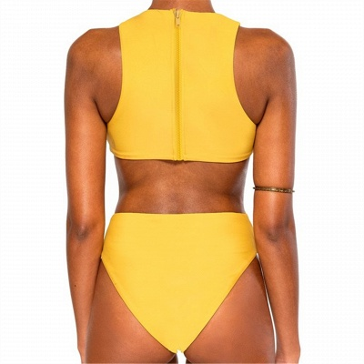 Asymmetry Cut-out One Piece Yellow Swimwear_6