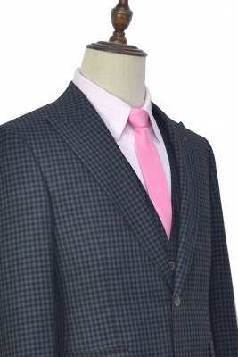 Dark Gray Small Grid One Button Peaked Lapel Custom Wedding Suit | Single Breasted Three-Piece Suit For Men Tuxedos_6
