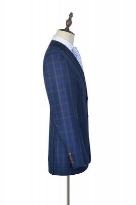 Costume de mariage de collier de châle de laine bleu foncé pour le marié | Nouvelle arrivée simple boutonnage costume sur mesure hommes_5