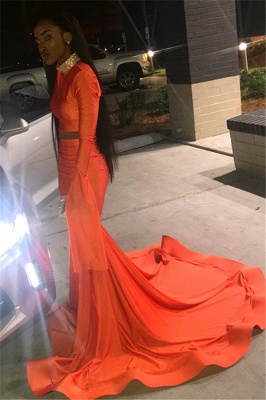 Sexy Orange Long-Sleeves High-Neck Sexy Mermaid Long Prom Dress_2
