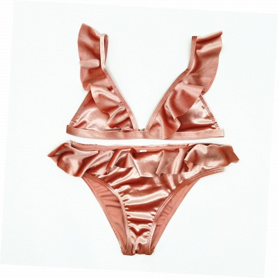 Silky  V-neck Draped Two Piece Sexy Bikini Sets_8