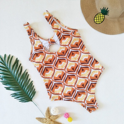 Totem Patterned Front Cut-out Ribbon One Piece Swimwear_8