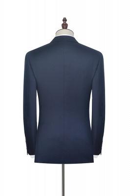 Hign Quality Dark Blue Double Breasted Custom Suit For Formal | Peak lapel 3 Pocket Tailored Best Groomsmen Suit_4