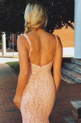 Elegant Pink Lace Spaghetti-Straps Sleeveless Mermaid Prom Dresses_2