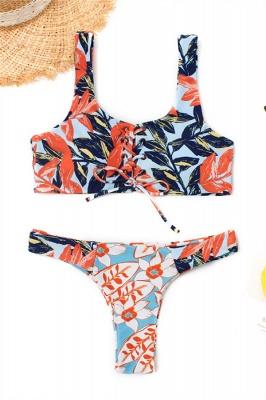 High Waist Lace-up Straps Flower Prints Sexy Bikinis_1