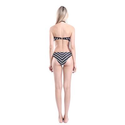 Bretelles noires et blanches Halter Bikini Deux pièces_6