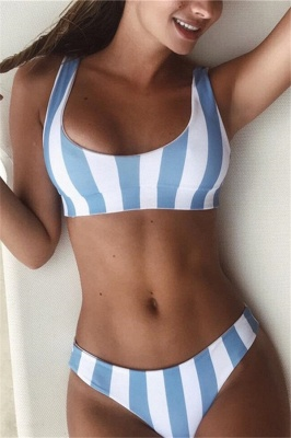 Vintage Scoop Spaghetti Striped Two Piece Swimsuits_8