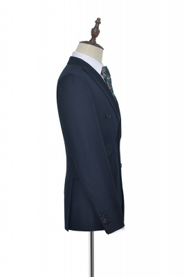 Hign Quality Dark Blue Double Breasted Custom Suit For Formal | Peak lapel 3 Pocket Tailored Best Groomsmen Suit_5