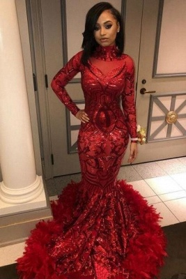 Burgundy Sexy Mermaid Sequins Long Sleeves High Neck Prom Dresses_2