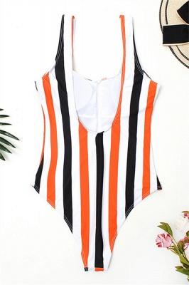 One Piece Zipper Stripes Straps Swimwear Suits_1