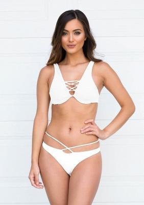 Lace-up Bandage Plain Two Piece Sexy Bikini Beachwears_1