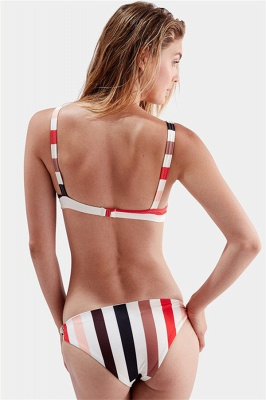 Bikinis Deux-Pièces Élégant Rayures Bretelles Spaghetti Noeud_5