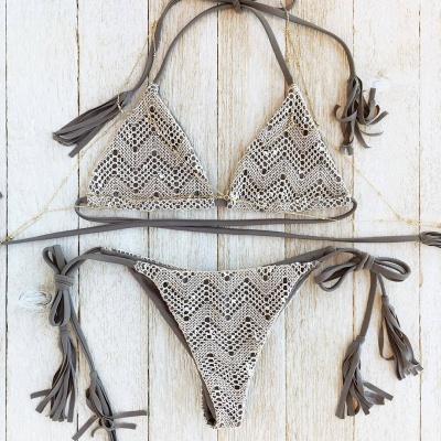 Lace Triangle Cut-outs Halter Sexy Bikini Swimwear_6