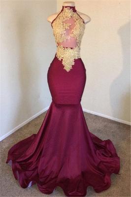 Burgundy High Neck Appliques Sleevless Mermaid Long Prom Dresses Cheap_1