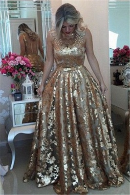 Chic Gold Straps Beaded Sequins Sleeveless Prom Dress_3