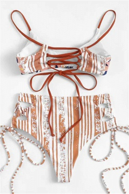 Colorful Patterns Spaghetti Straps Lace-up Sexy Bikini Sets_8