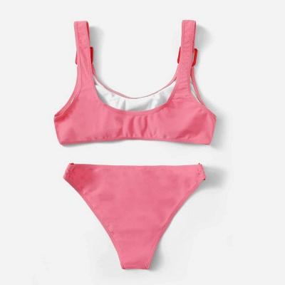 Buckled Straps Pink V-neck Sexy Bikini Swimsuits_5