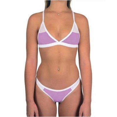 Triangle Pads Colorful Plain Sheer Net Sexy Bikini Sets_8