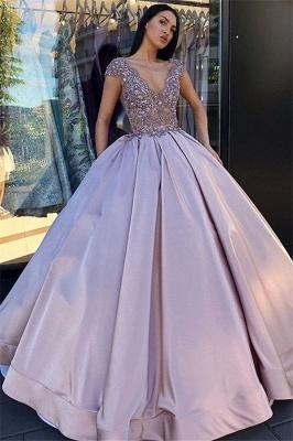 V-neck Sleeveless Crystal Beading Ball-Gown Prom Dresses_1