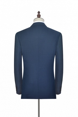Dark Grey Blue Notched Lapel Custom Suit For Men | Fashion Single Breasted Two Botton Business Men Suit_4