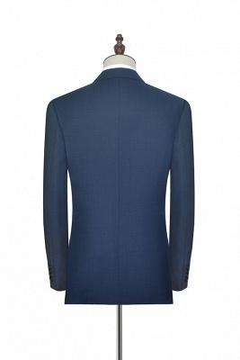 Gris foncé bleu côtelé revers costume pour hommes | Costume unique deux hommes d'affaires botton de la mode_4