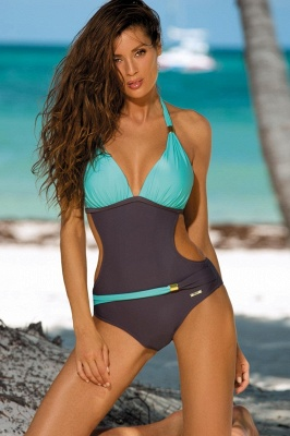 Halter One-piece Irrégulier Color Block Side Sheer Beachwear_5