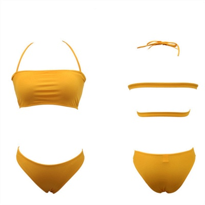Strapless Halter Bandage Two Piece Bateau Two Piece Swimsuits_9