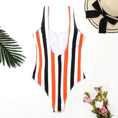 One Piece Zipper Stripes Straps Swimwear Suits_8