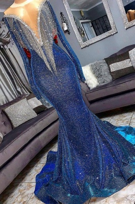 Luxurious Sequins Long Sleeve Mermaid Sheer Neckline Long Prom Dresses Cheap_2