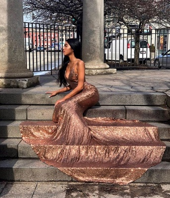 Chic Spaghetti-Straps Sequins Sexy Mermaid Prom Dress_2