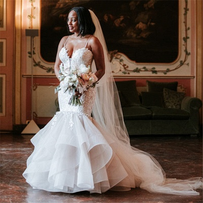 Elegant Spaghetti Straps Lace Appliques Wedding Dresses | Sexy  Mermaid Sleeveless Cheap Bridal Gowns_2