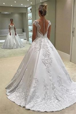 New Arrival Long Sleeve Ball Gown Wedding Dresses   Elegant Appliques Sain Bridal Gowns Cheap_2
