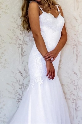 Latest Lace Appliques Straps Wedding Dresses | Open Back Long Sleeve Cheap Bridal Gowns_2