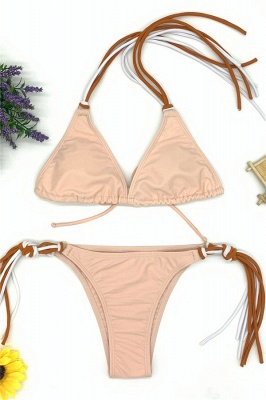 Triangle Pads Halter Straps Multicolor Two Piece Sexy Bikini Sets_2