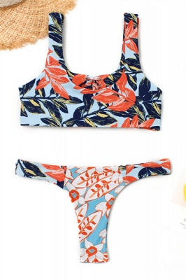 High Waist Lace-up Straps Flower Prints Sexy Bikinis_6