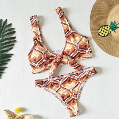 Totem Patterns V-neck Knot Straps Two Piece Sexy Bikini Sets_3