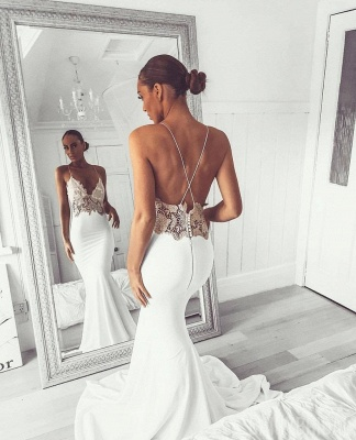 New Arrival Spaghetti Straps Open Back Appliques Sexy Mermaid Cheap Wedding Dresses_3