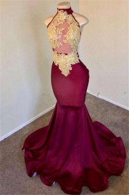 Burgundy High Neck Appliques Sleevless Mermaid Long Prom Dresses Cheap_2
