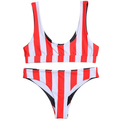 Vintage Scoop Spaghetti Striped Two Piece Swimsuits_9