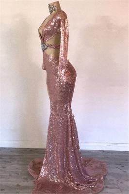 Glamorous Sequins V-Neck Long Sleeve Side Slit Mermaid Long Prom Dresses Cheap_2