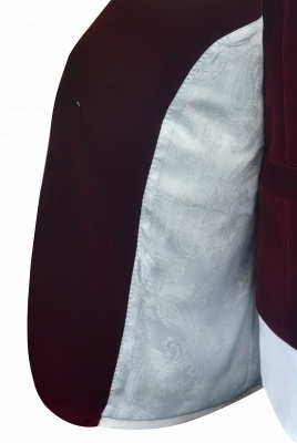 White Red Velvet Shawl Collar One Button Wedding Suit For Groom | Latest Design Single Breasted Slim Fit Suit_8