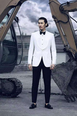 White Wool Shawl lapel Custom Suit For Men | Single Breasted One Button Wedding Suit For Groom_3