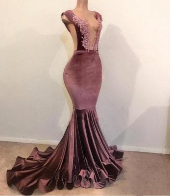 Mermaid Sleeveless Floor Length Appliques Velvet Long Prom Dresses Cheap_1