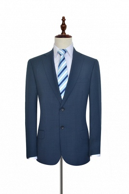 Dark Grey Blue Notched Lapel Custom Suit For Men | Fashion Single Breasted Two Botton Business Men Suit_3