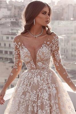 Elegant Lace Appliques Wedding Dresses   Long Sleeve Cheap Bridal Gowns_2