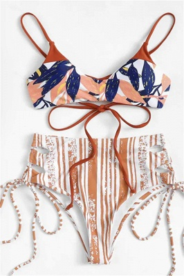 Colorful Patterns Spaghetti Straps Lace-up Sexy Bikini Sets_1