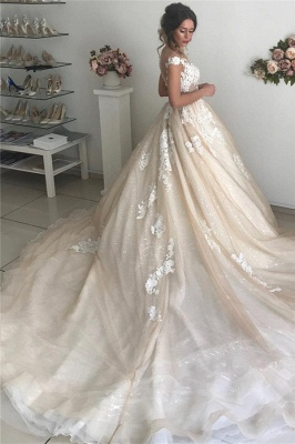 Latest Appliques Off The Shoulder Wedding Dresses Sexy | Sequins Open Back Sleeveless Cheap Bridal Gowns_2
